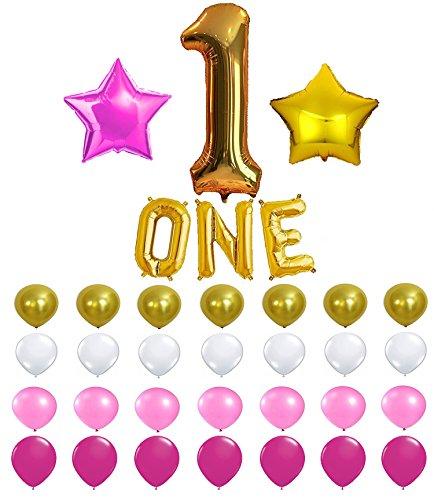 KATCHON 1st Birthday Party Balloon Decoration Kit with Party Planner (Standard Helium Balloon Kit)