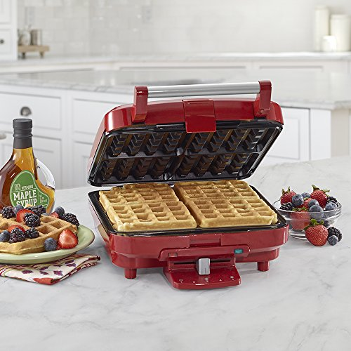 Cuisinart WAF-150R 4-Slice Belgian Waffle Maker, Stainless Steel/Red
