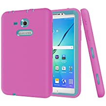 "Galaxy Tab 3 Lite 7.0 Case,Galaxy Tab E Lite 7.0 Case,MAKEIT Shock-Absorption / High Impact Resistant Hybrid Dual Layer Armor Defender Full Body Protective Case Cover for Samsung Galaxy Tab 3 Lite 7.0"" and Tab E Lite 7.0""-Rose Red/Dark Green"