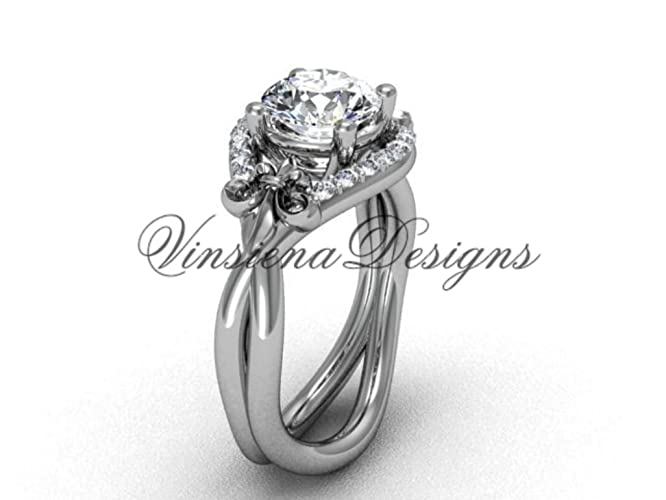Amazon.com: Platinum diamond Fleur de Lis wedding ring, engagement ...