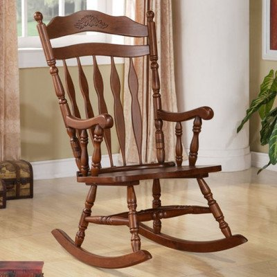 (Traditional Wood Rocking Chair, Made Of Solid Wood, Presented In Oak Finish)