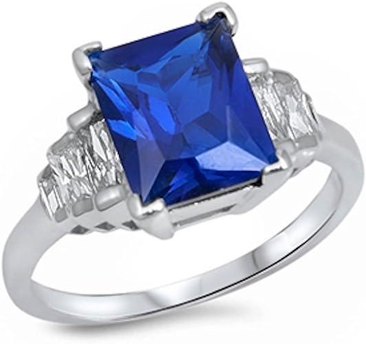 4CT Elegant Emerald Cut Blue Sapphire /& CZ Ring .925 STERLING SILVER Sizes 5-10