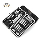 MIRANCO Manicure Pedicure Set Nail Clippers, manicure tools- 18 Piece Stainless Steel Manicure Kit, Professional Grooming Kit, Nail Tools with Luxurious Travel Case (Black)