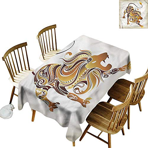 "Tim1Beve Washable Tablecloth Zodiac Leo Tattoo Style Tribal Lion Dinner Picnic Table Cloth Home Decoration 60"" W x 102"" L"
