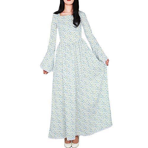 (Loli Miss Women's Historical Prairie Dress Pioneer Colonial Costume Victorian Civil War Dresses (Small(US4-6, White&Blue))