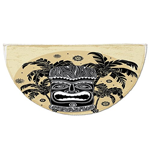 Entrance Rug Floor Mats,Tiki Bar Decor,Tiki Mask Figure Palm Trees Ornate Flowers Sunny Summer Party Print Decorative,Brown White Yellow,Garage Entry Carpet Decor for House Patio G (Palm Tiki Bar Decor)