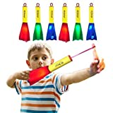 US Sense 6 Pack Glow Foam Rockets Toy Rocket Launcher - Outdoor Slingshot Shooting Games Rocket Toy Gift for Boys and Girls Ages 3 Years and Up