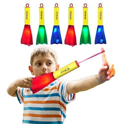 US Sense 6 Pack Glow Foam Rockets Toy Rocket Launcher - Outdoor Slingshot Shooting Games Rocket Toy Gift for Boys and Girls Ages 3 Years and Up -