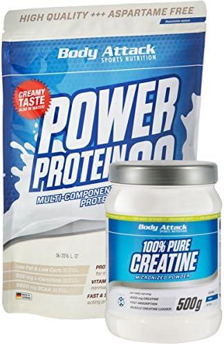 Body Attack Muskelaufbau Duo, Eiweiß plus Kreatin (1x Pure Creatine 500g, 1x Power Protein 90 500g) (Vanilla)