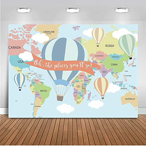 Mocsicka Hot Air Balloon Baby Shower Backdrop Oh The Places You'll go Background 7x5ft Vinyl Air Balloon Baby Shower Backdrops -