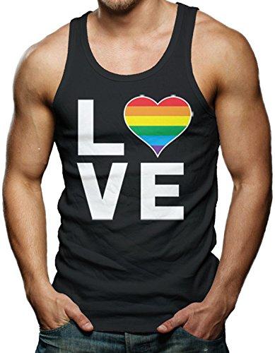 Love (Rainbow Heart) - Gay & Lesbian Men's Tank Top T-shirt (Medium, (Gay Black T-shirt)