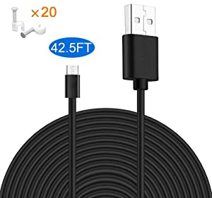 MOYEEL 42.5Ft(13M) Power Extension Cable for Wyze Cam/Wyze Cam Pan, Blink XT Cam, Yi Camera, NestCam Indoor and Quick Charge Power for Home Security Camera (Black) (1 Pack)