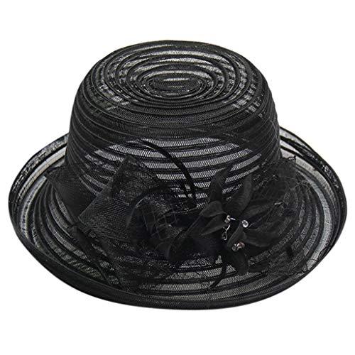 - Aleola Women Derby Hat Wide Floral Brim Hat Party Wedding Cap