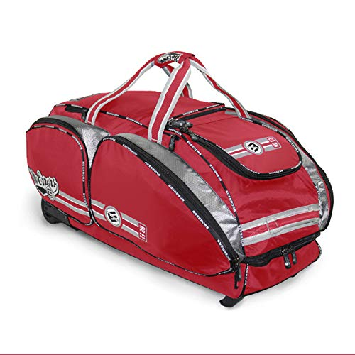 NO Errors NO E2 Catchers Bag with Fatboy Wheels - Wheeled Baseball Equipment Gear & Helmet Bags (Red) (Best Batting Gloves On The Market)