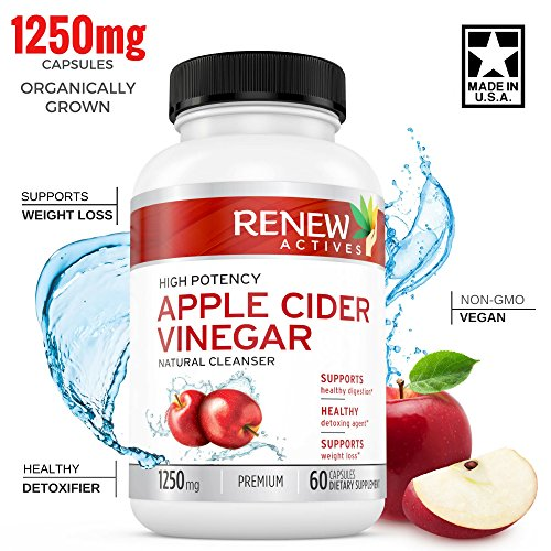 Apple Cider Vinegar Supplement Capsules: All Natural Vegan ACV Pills - Weight Loss, Detox and Cleanse Supplements to Promote Healthy Blood Sugar, Metabolism, Digestion and Energy - 60 Veggie Capsules