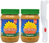 SunButter Organic Sunflower Seed Spread, 16 Ounce Plastic Jar (Pack 2) - with Exclusive By The Cup Sandwich Spreader