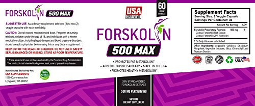 Pure Forskolin Extract for Weight Loss & Appetite Suppressant, Metabolism Booster, Carb Blocker & Belly Fat Burner by USA SUPPLEMENTS