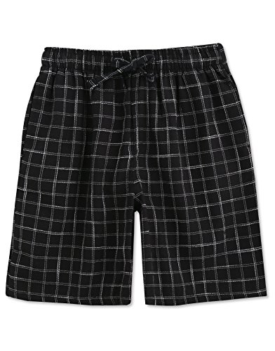 TINFL Men's Plaid Cotton Sleep Lounge Shorts Pajama Pants MSP-01-Black S ()