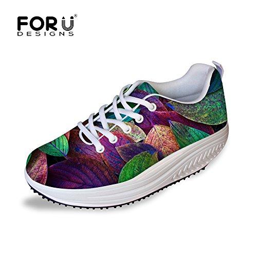 Pour U Conceptions Vintage Laisse Impression Confort Des Femmes Wedges Plateforme Chaussures De Marche Laisse A5