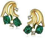 Ben-Amun Jewelry Golden Era Swarovski Crystal Emerald Blossom Drop Earrings for Bridal Wedding Anniversary