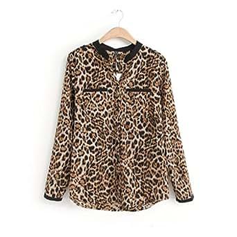 """Cinnamou-Mujer Camisetas y Tops Leopardo Impresión, Trajes y Blazers Gasa de Manga Larga Blusas Casuales de Mujer Cuello en V Talla Grande Primavera Desgastar Invierno Base (L-Busto:98CM/38.6"""")"""