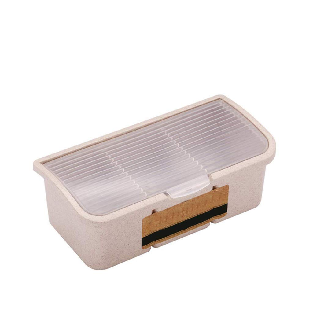I will take action now Condiment box multi-purpose separation two-color seasoning box wheat platycodon material with cover dustproof I will take action now (color : White)