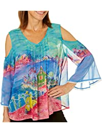 Womens Matlacha Island Cold Shoulder Top