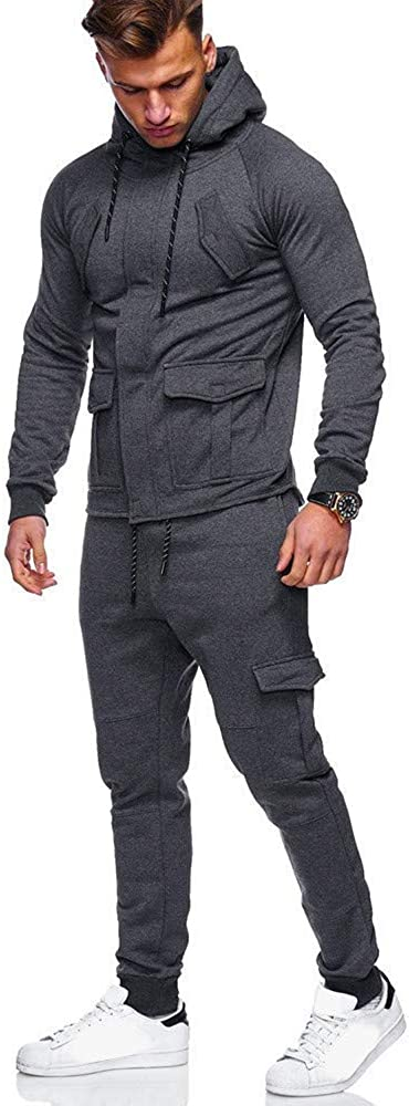 ALLAK Athletic Tracksuit Full Zip Casual Jogging Gym Sweat Suits
