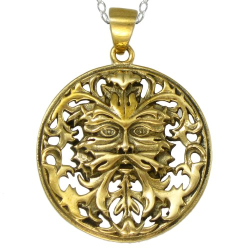 Celtic Cable Chain Necklace (Bronze Celtic Greenman Necklace with 20 Inch Sterling Silver Cable Chain)