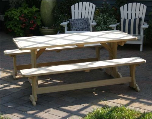 5' Treated Pine Trestle Picnic Table with 2 Benches (Trestle Pine)
