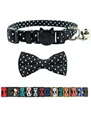 Pipidog Cat Collar with Bell and Bow Tie, Breakaway Clasp Cute Dots Cotton Kitty Kitten Collar(6.8-10.8in) (Black Dots)