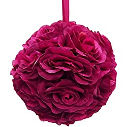 Firefly Imports Homeford Flower Kissing Balls Pomander Pom Pom Wedding Centerpiece, Fuchsia