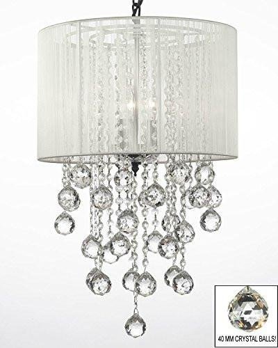 (Crystal Chandelier Chandeliers W/Large White Shade & Crystal Balls H24