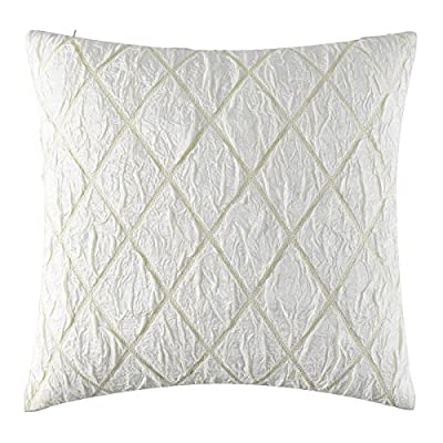 GIGIZAZA Luxury Decorative Throw Pillow Cushion Covers For Sofa Silver Golden Yarn Diamond Pattern Jacquard (Ivory, 20 x 20 inch) -  - patio, outdoor-throw-pillows, outdoor-decor - 513Zsg4GsuL. SS400  -