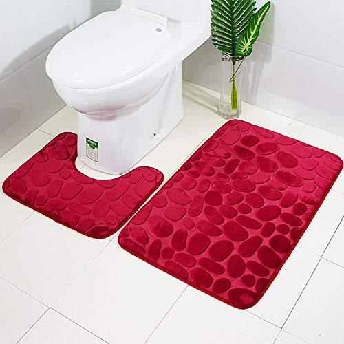 (Vibola Bathroom mat Sets 2 Piece Solid Color Series Non-Slip Suction Grip Bath Mat Bathroom Kitchen Carpet Doormats Decor Pad:19.68