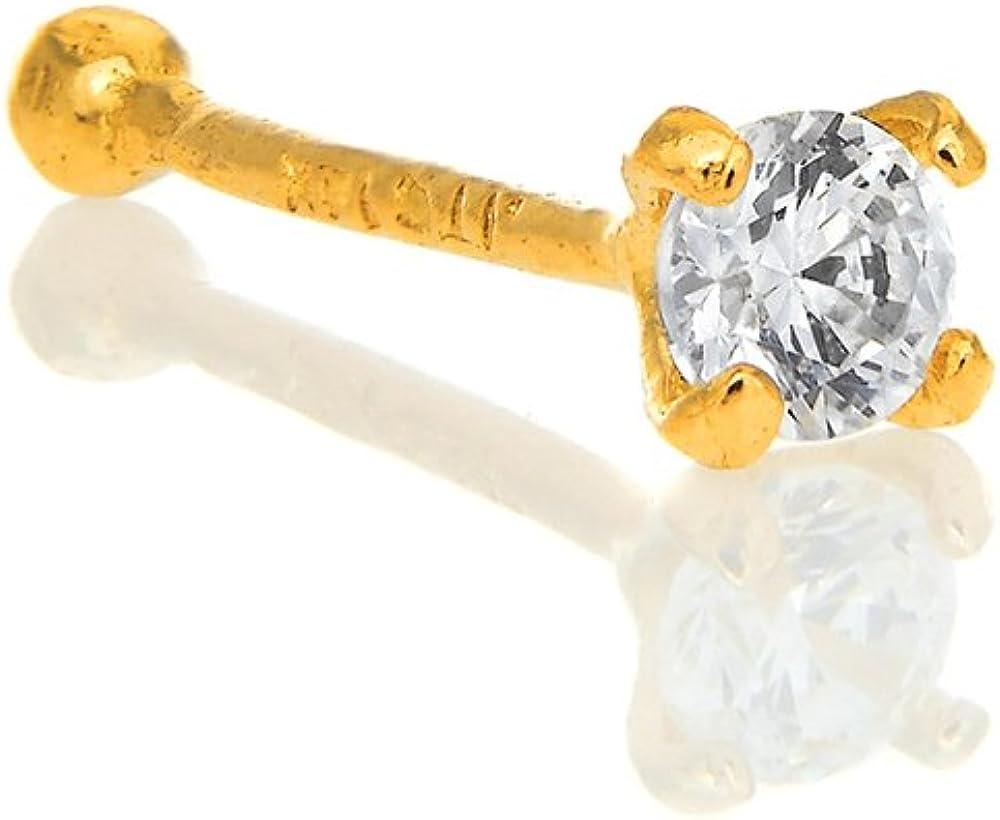 0.5mm 24 Gauge 9mm Long 14K Solid White Gold Nose Ring Bone CZ Prong Set
