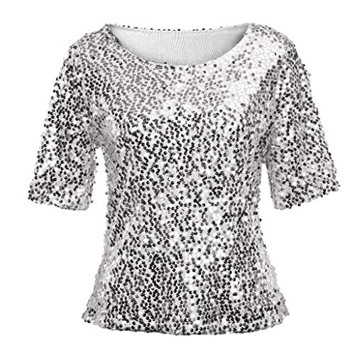 Women Sequin Sparkle Glitter Blouse Short Sleeve Top Shirt Silver ()