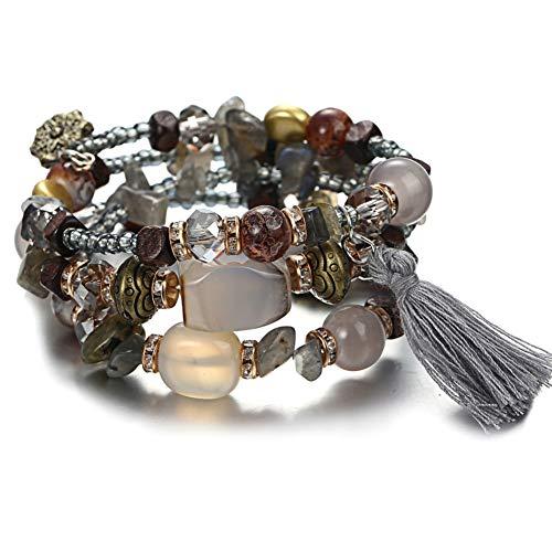 SLMCLUB Bohemian Beads Crystal Charms Bracelets for Women Ethnic Tibet Multilayer Imitation Natural Stone Bracelets Bangles ()