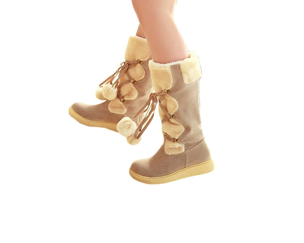 Charm Foot Fashion Womens Platform Low Heel High Top Snow Boots Winter Boots