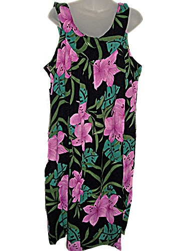 HAWAIIAN PINK ORCHIDS BLACK PLUS-SIZE SUMMER CRUISE DRESS (1X-2X) TC036 (Plus Size Stores)