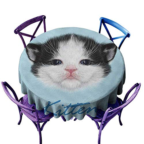 Washable Round Tablecloth,Cartoon Portrait of Domestic Kitten Newborn Bicolor Furry Head Pink Wet Nose Artwork,High-end Durable Creative Home,60 INCH,Black White Blue