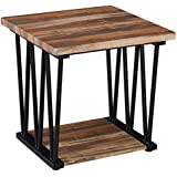 O&K Furniture Modern Industrial Square Side End Table with Bottom Shelf for Living Room & Bedroom, Vintage Brown