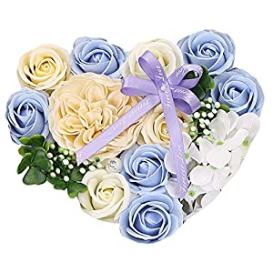 Ecosin Best Gift Box Rose Mother's Day DIY Soap Flower Gift Rose Box Bouquet Wedding Home Festival Gift (Sky Bule) 74