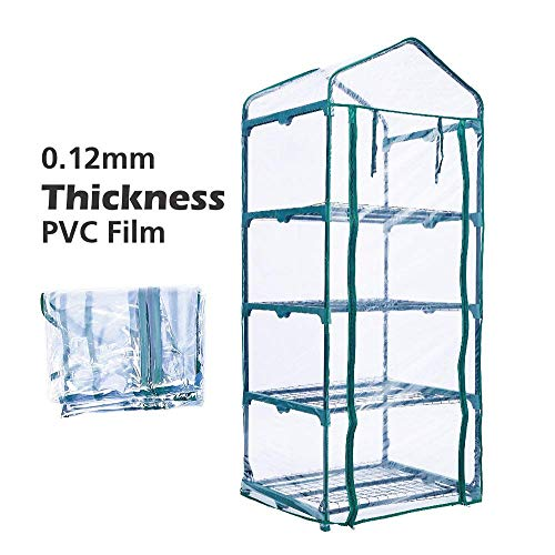 Portable 4-Tier Shelves Mini Greenhouse w/ Removable Wheels Warm Commercial PVC Cover Indoor Outdoor Clear Greenhouse Plant Flower Grow Tent Double Zipper Roll Up Front 27 in. L x 19 in. W x 63 in. H by Homes Garden (Image #5)