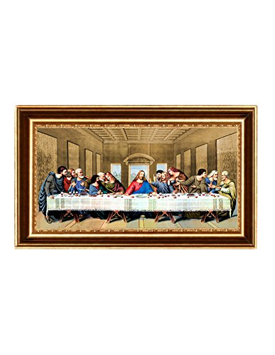 Eliteart- Jesus Christ The Last Supper by Leonardo da Vinci Giclee Art Canvas Prints Framed Size:35 5/8''x22'' by Elite Art