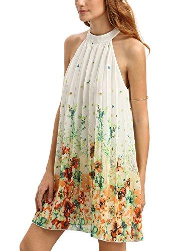 (Floerns Women's Summer Chiffon Sleeveless Party Dress - Medium - White)