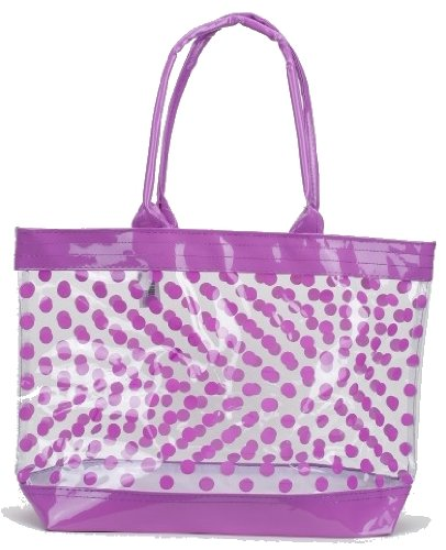 Clear Tote Bag / Beach Bag with Polka Dots (Purple) (Plastic Beach Tote)