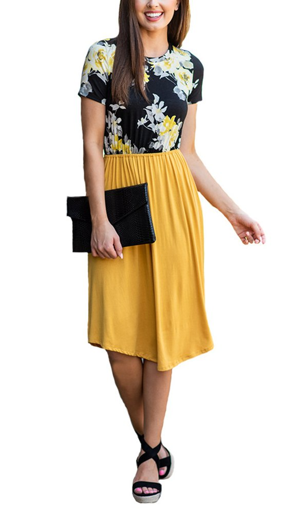 Annystore Women\'s Dress with Pockets - Summer Sleeveless Button Casual Loose Swing T-Shirt Short Dress (6038-Yellow, Small)