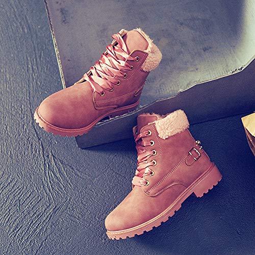 Cuir Neige Bottes Lacets Doublé Sport Hooh Bottines De Boots Femme À Rose Flattie Fourrure Faux O7qxRdw