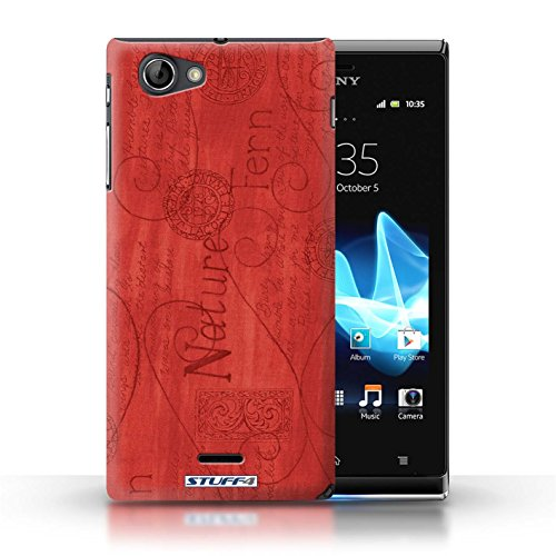 Etui / Coque pour Sony Xperia J (ST26i) / Rouge conception / Collection de Motif Nature